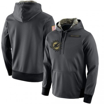 Men's Nike Miami Dolphins Anthracite Salute to Service Player Performance Hoodie -