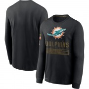 Men's Nike Miami Dolphins Black 2020 Salute to Service Sideline Performance Long Sleeve T-Shirt -