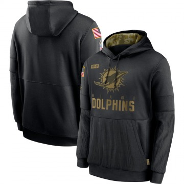 Men's Miami Dolphins Black 2020 Salute to Service Sideline Performance Pullover Hoodie -