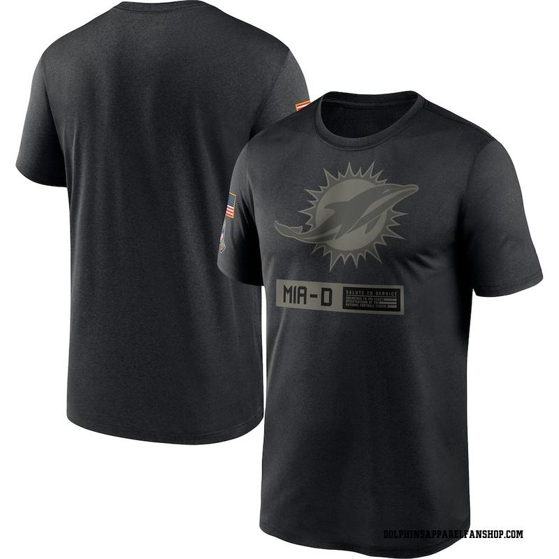 Men's Nike Miami Dolphins Black 2020 Salute to Service Team Logo Performance T-Shirt -
