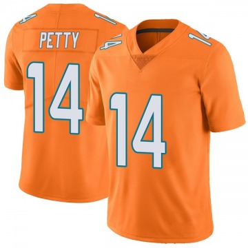 Men's Miami Dolphins Bryce Petty Orange Color Rush Jersey - Limited