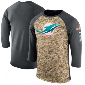 Men's Miami Dolphins Camo /Anthracite Salute to Service 2017 Sideline Performance Three-Quarter Sleeve T-Shirt - Legend