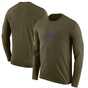 Men's Nike Miami Dolphins Olive 2018 Salute to Service Sideline Performance Long Sleeve T-Shirt - Legend