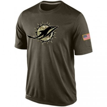 Men's Miami Dolphins Olive Salute To Service KO Performance Dri-FIT T-Shirt -