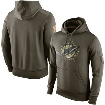 Men's Miami Dolphins Olive Salute To Service KO Performance Hoodie -
