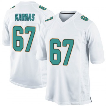Men's Nike Miami Dolphins Ted Karras White Jersey - Game