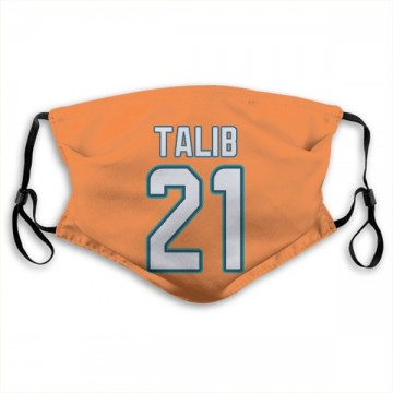 Miami Dolphins Aqib Talib Orange Jersey Name & Number Face Mask