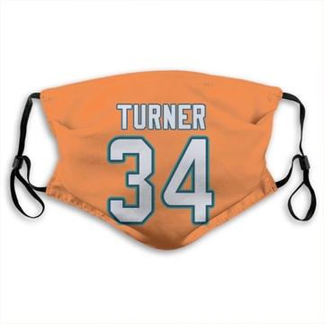 Miami Dolphins De'Lance Turner Orange Jersey Name & Number Face Mask
