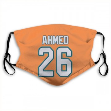 Miami Dolphins Salvon Ahmed Orange Jersey Name & Number Face Mask