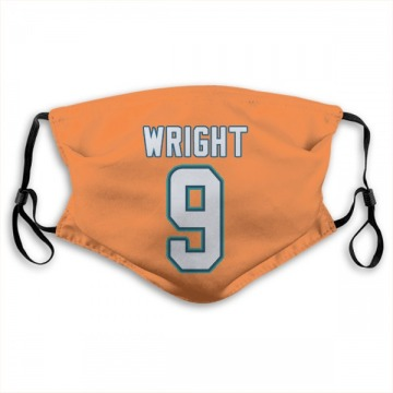 Miami Dolphins Terry Wright Orange Jersey Name & Number Face Mask