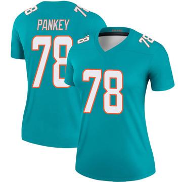 Women's Nike Miami Dolphins Adam Pankey Aqua Jersey - Legend