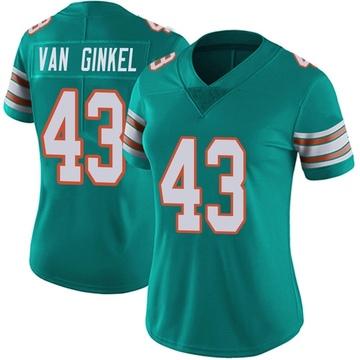 Women's Nike Miami Dolphins Andrew Van Ginkel Aqua Alternate Vapor Untouchable Jersey - Limited