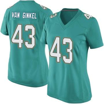 Women's Nike Miami Dolphins Andrew Van Ginkel Aqua Team Color Jersey - Game