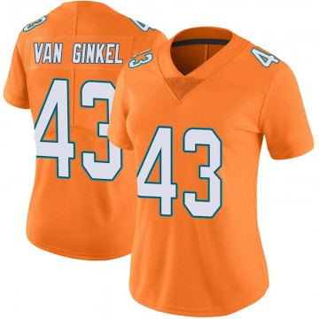 Women's Nike Miami Dolphins Andrew Van Ginkel Orange Color Rush Jersey - Limited
