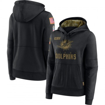 Women's Miami Dolphins Black 2020 Salute to Service Performance Pullover Hoodie -