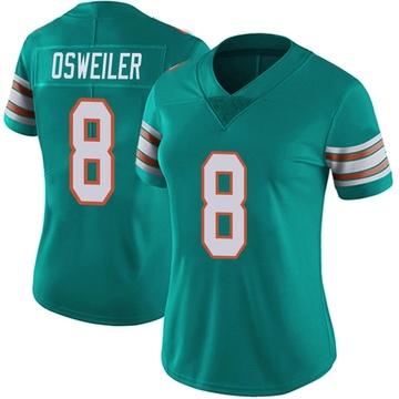Women's Nike Miami Dolphins Brock Osweiler Aqua Alternate Vapor Untouchable Jersey - Limited
