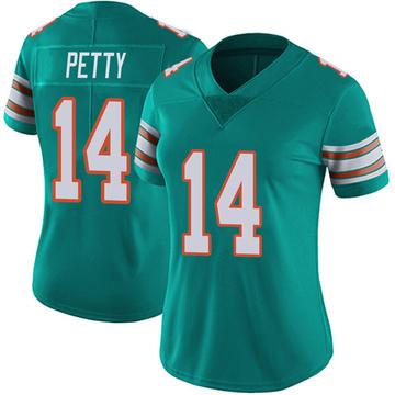 Women's Nike Miami Dolphins Bryce Petty Aqua Alternate Vapor Untouchable Jersey - Limited