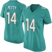 Women's Nike Miami Dolphins Bryce Petty Aqua Team Color Jersey - Game