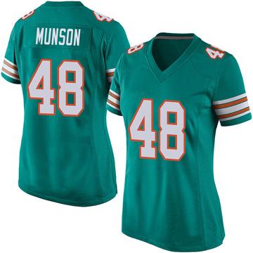 Women's Nike Miami Dolphins Calvin Munson Aqua Alternate Jersey - Game