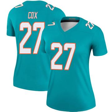 Women's Nike Miami Dolphins Chandler Cox Aqua Jersey - Legend