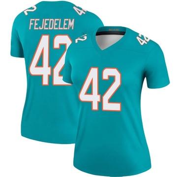 Women's Nike Miami Dolphins Clayton Fejedelem Aqua Jersey - Legend