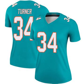 Women's Nike Miami Dolphins De'Lance Turner Aqua Jersey - Legend