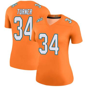 Women's Nike Miami Dolphins De'Lance Turner Orange Color Rush Jersey - Legend