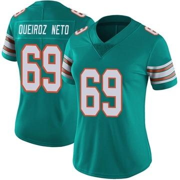 Women's Nike Miami Dolphins Durval Queiroz Neto Aqua Alternate Vapor Untouchable Jersey - Limited