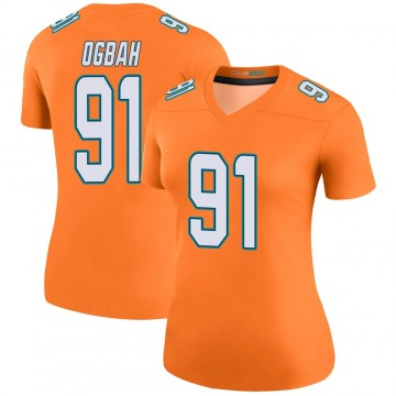 Women's Nike Miami Dolphins Emmanuel Ogbah Orange Color Rush Jersey - Legend