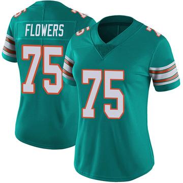 Women's Nike Miami Dolphins Ereck Flowers Aqua Alternate Vapor Untouchable Jersey - Limited