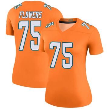 Women's Nike Miami Dolphins Ereck Flowers Orange Color Rush Jersey - Legend