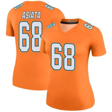 Women's Nike Miami Dolphins Isaac Asiata Orange Color Rush Jersey - Legend