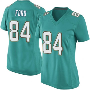 Women's Nike Miami Dolphins Isaiah Ford Aqua Team Color Jersey - Game