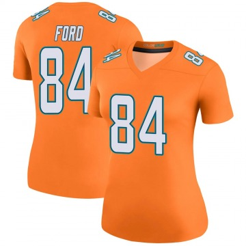 Women's Nike Miami Dolphins Isaiah Ford Orange Color Rush Jersey - Legend