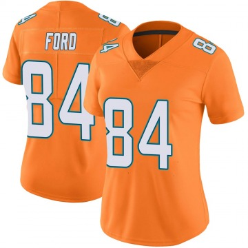 Women's Nike Miami Dolphins Isaiah Ford Orange Color Rush Jersey - Limited