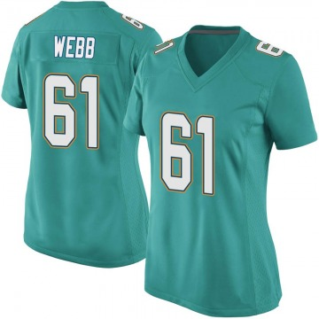 Women's Nike Miami Dolphins J'Marcus Webb Aqua Team Color Jersey - Game