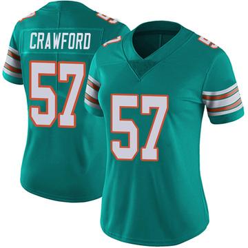 Women's Nike Miami Dolphins James Crawford Aqua Alternate Vapor Untouchable Jersey - Limited