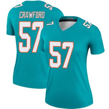 Women's Nike Miami Dolphins James Crawford Aqua Jersey - Legend