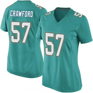 Women's Nike Miami Dolphins James Crawford Aqua Team Color Jersey - Game