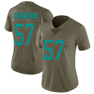 Women's Nike Miami Dolphins James Crawford Green 2017 Salute to Service Jersey - Limited