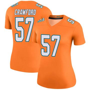 Women's Nike Miami Dolphins James Crawford Orange Color Rush Jersey - Legend