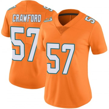 Women's Nike Miami Dolphins James Crawford Orange Color Rush Jersey - Limited