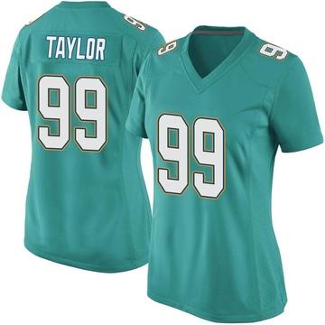 Women's Nike Miami Dolphins Jason Taylor Aqua Team Color Jersey - Game