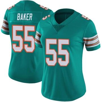 Women's Nike Miami Dolphins Jerome Baker Aqua Alternate Vapor Untouchable Jersey - Limited
