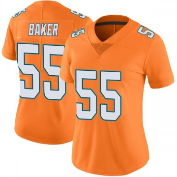 Women's Nike Miami Dolphins Jerome Baker Orange Color Rush Jersey - Limited