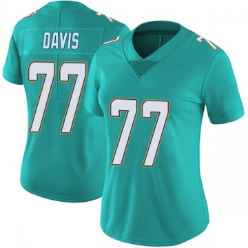 Women's Nike Miami Dolphins Jesse Davis Aqua Team Color Vapor Untouchable Jersey - Limited