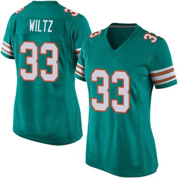 Women's Nike Miami Dolphins Jomal Wiltz Aqua Alternate Jersey - Game