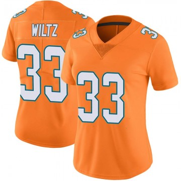Women's Nike Miami Dolphins Jomal Wiltz Orange Color Rush Jersey - Limited