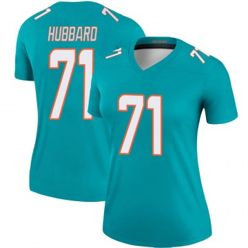 Women's Nike Miami Dolphins Jonathan Hubbard Aqua Jersey - Legend