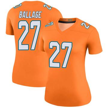 Women's Nike Miami Dolphins Kalen Ballage Orange Color Rush Jersey - Legend